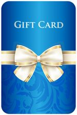 Blue vertical gift card with damask ornament and cream diagonal ribbon