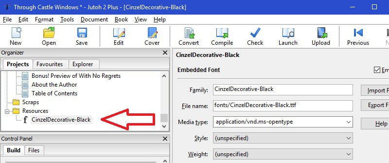 Jutoh - font in Resources folder