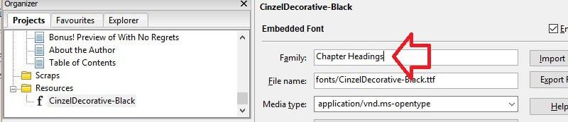 Jutoh - rename font family