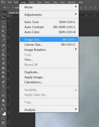 Photoshop image size menu