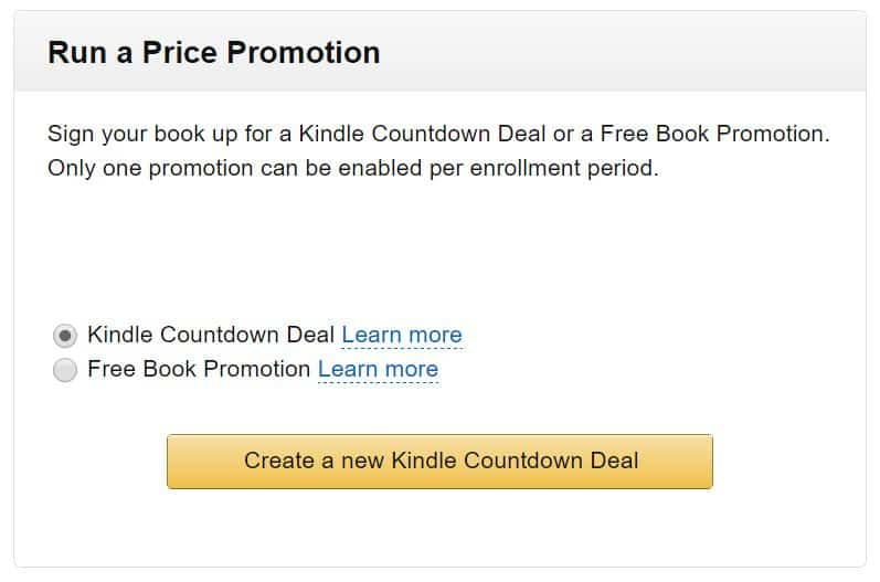 Run a price promotion - Kindle countdown deal