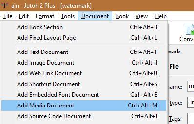 add a watermark to an ebook- add media document in Jutoh