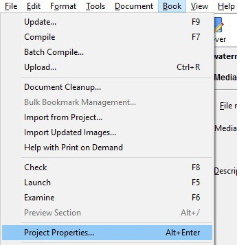 add a watermark to an ebook- book-project properties in Jutoh