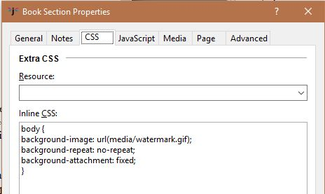 add a watermark to an ebook - book section properties in Jutoh