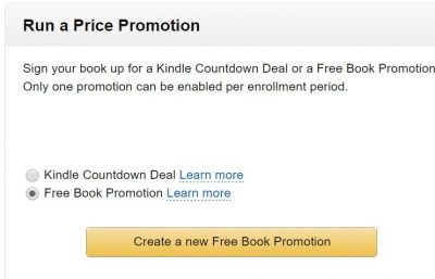 Run a price promotion - free book promotion