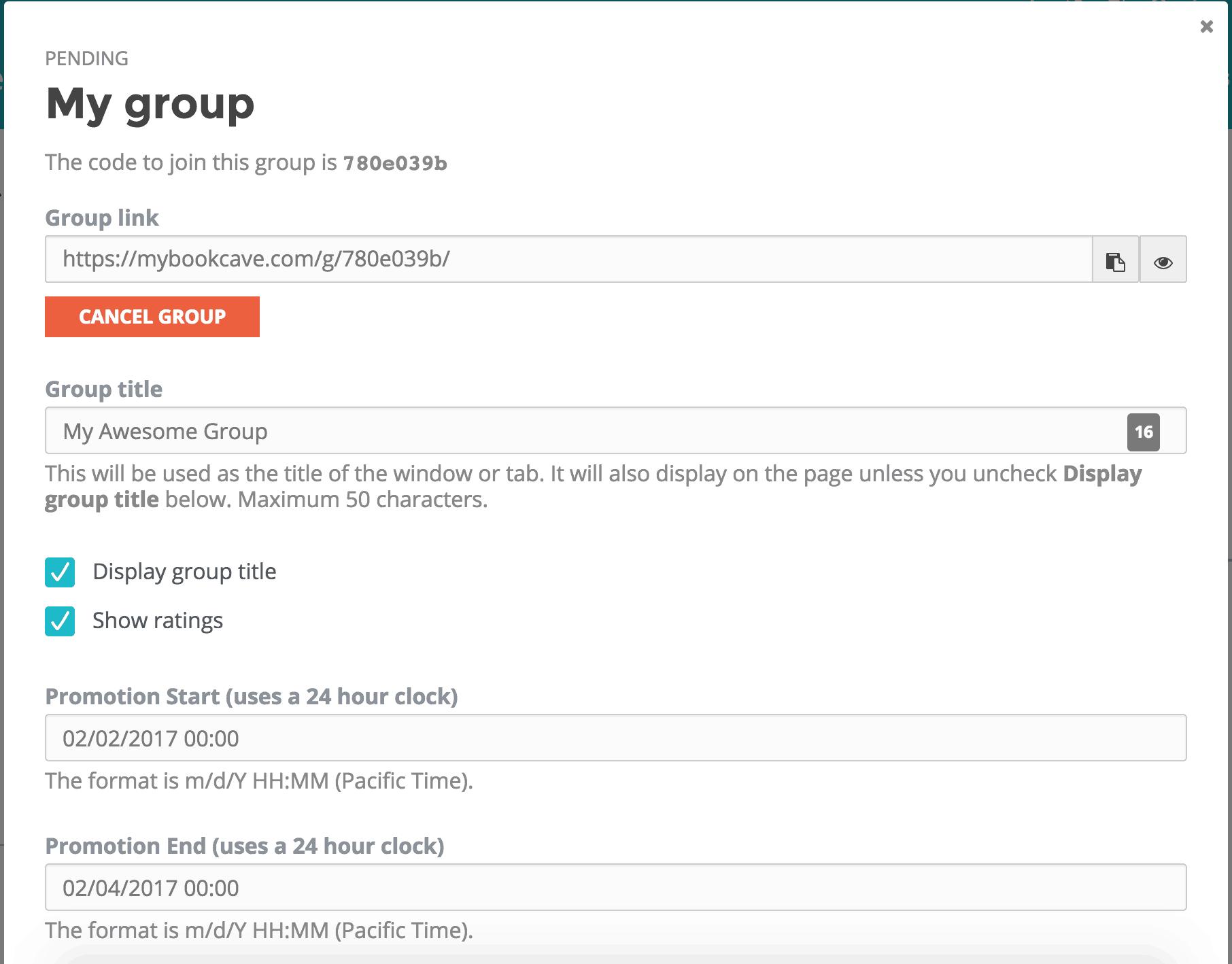 group promotion details
