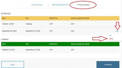 Discount your ebook on Barnes & Noble - delete price schedule