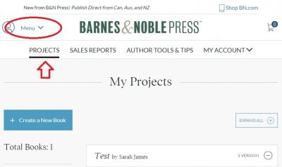 Discount your ebook on Barnes & Noble - projects tab