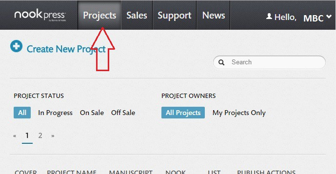 How to discount your ebook on Barnes & Noble - projects tab