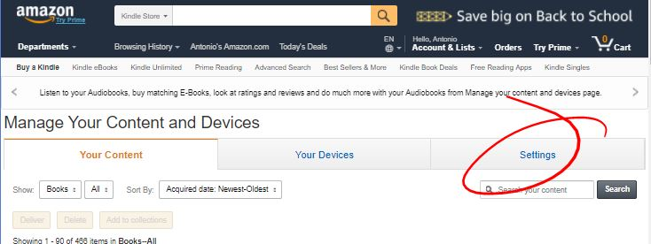 Where to Download free Ebooks for Your Ereader - amazon settings