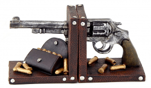 pistol and bullet bookend
