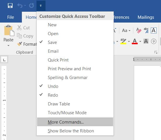 Microsoft Word Text to Speech feature More Commands