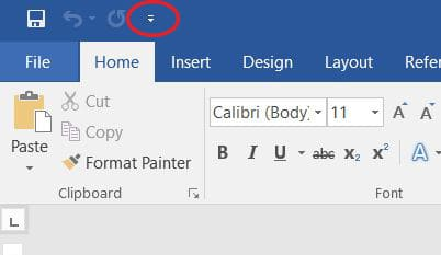Microsoft Word Text to Speech feature Toolbar