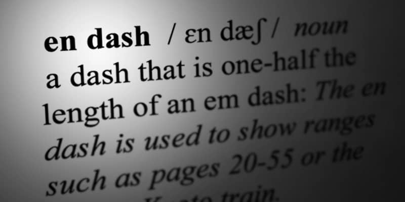 en dash dictionary entry