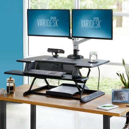 Varidesk standing desk with electric spring