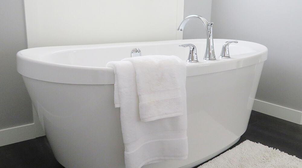 reading in a bathtub