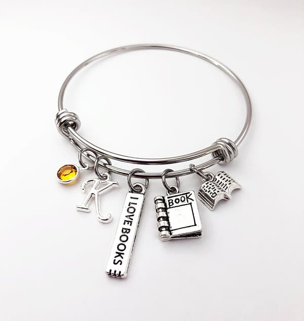 Personalized Book Charm Bracelet