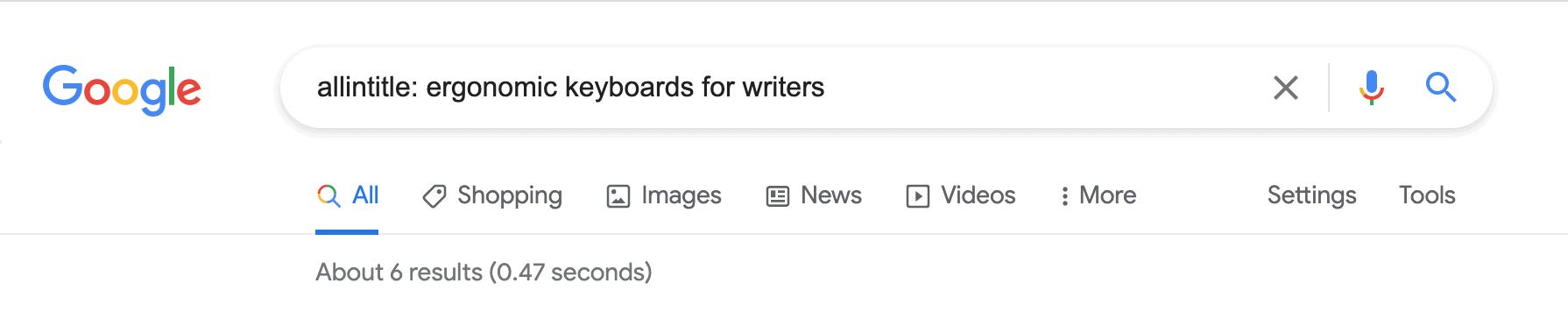Google search notation: Allintitle